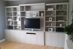 built in entertainment unit and shelves